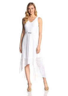 Marc New York by Andrew Marc Women's Sleeveless V Neck Lace Hi Low Dress