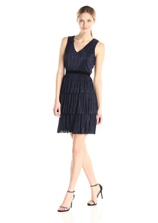 Marc New York by Andrew Marc Women's Sleeveless V Neck Tiered Dress