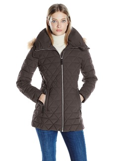 Marc New York by Andrew Marc Women's Tobi Quilted Coat With Faux Fur Removable Hood  XL