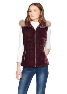 Marc New York by Andrew Marc Women's Val Velvet Down Vest  Extra Large
