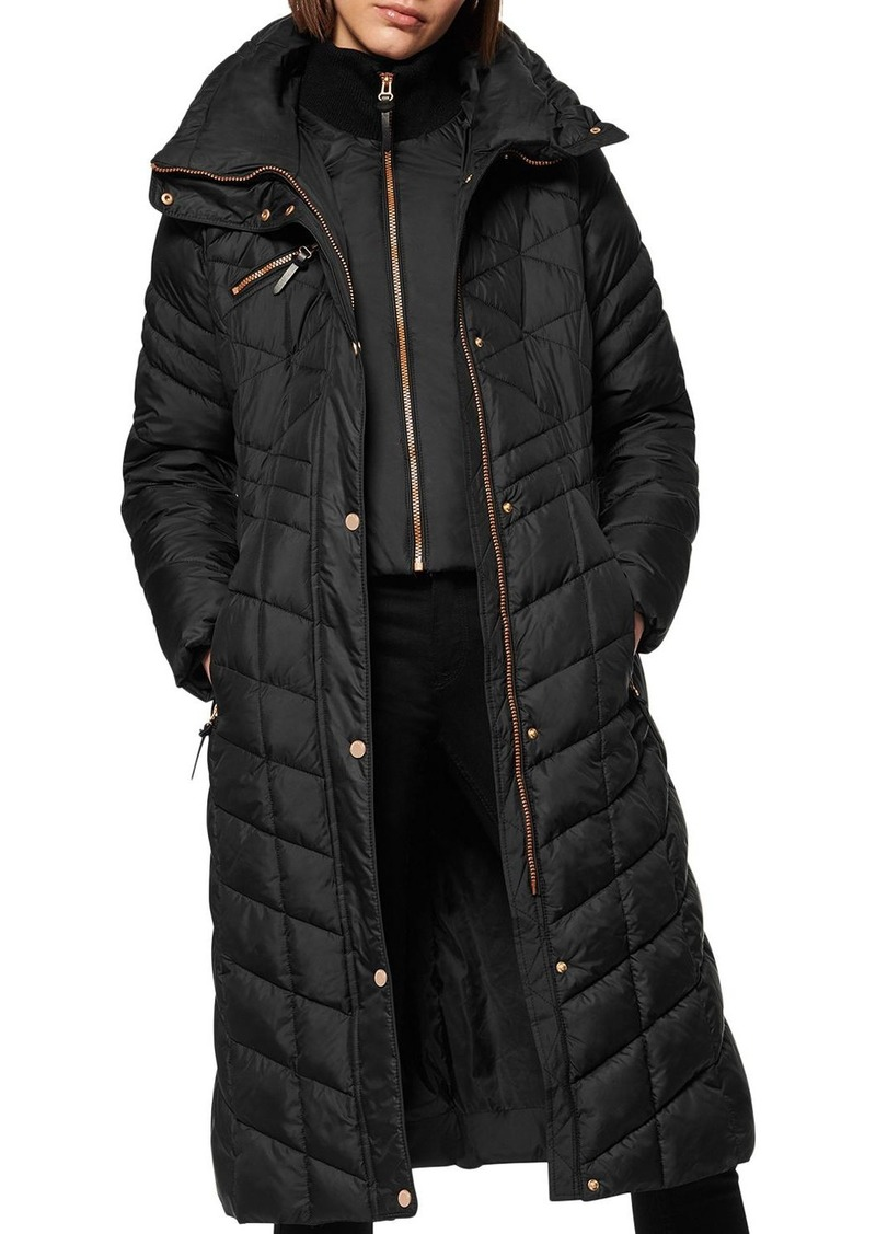 Marc New York Diamond-Quilted Lacquer Puffer Coat