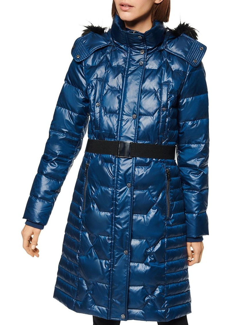 Marc New York Faux Fur-Trim Belted Puffer Coat