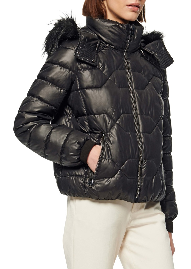 Marc New York Faux Fur Trim & Feather Puffer Jacket
