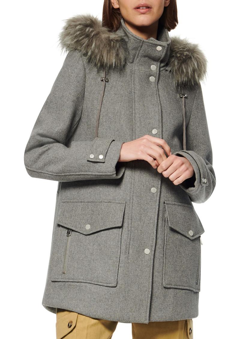 Marc New York Faux Fur Trim Hooded Duffle Coat