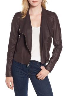 Marc New York Feather Leather Moto Jacket