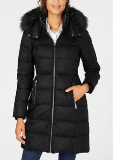 Andrew Marc Hooded Fur-Trim Puffer Coat