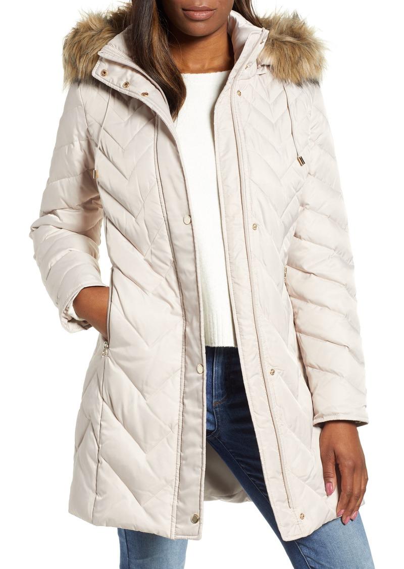 Marc New York Matte Satin Chevron Faux Fur Trim Coat