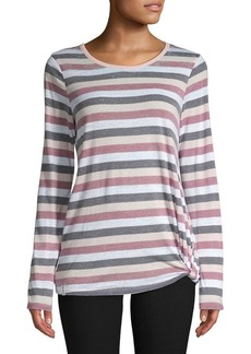 Marc New York Performance Knotted Long-Sleeve Stripe Tee