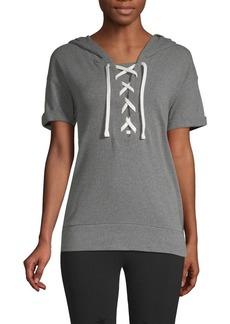 Marc New York Performance Lace-Up Short-Sleeve Hooded Sweatshirt
