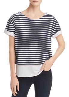 Marc New York Performance Layered-Look Striped Top