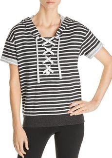 Marc New York Performance Short-Sleeve Striped Cotton Hoodie