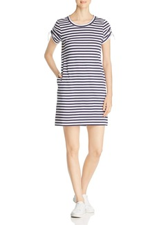 Marc New York Performance Striped Cinched-Sleeve T-Shirt Dress