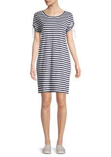 Marc New York Performance Striped Tie Sleeve Shirt Dress