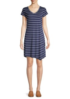 Marc New York Performance Striped V-Neck Shirt Dress