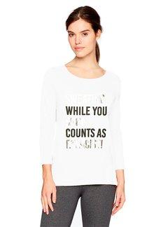 Calvin Klein Women's 3/4 Sleeve Graphic Tee White (Shopping Counts AS Exercise) XL