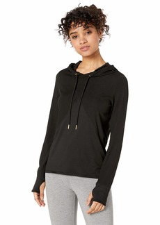 Marc New York Performance Women's Active Ribbed Long Sleeve Spliced Hooded Tunic Pullover