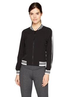 Marc New York Performance Women's Active Woven Bomber Jacket with Sleeve Stripe  L
