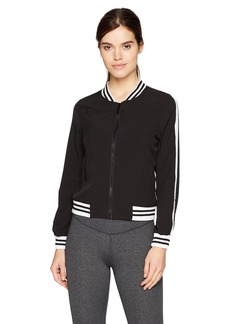 Marc New York Performance Women's Active Woven Bomber Jacket with Sleeve Stripe  M