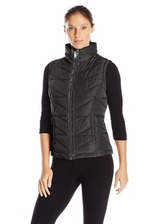Marc New York Performance Women's Center Front Puffer Vest W/Pu Trim and Sweat Knit Back