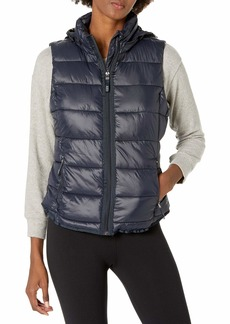 Marc New York Performance Women's Center Front Puffer Vest W/Pu Trim and Sweat Knit Back STORMY NIGHT