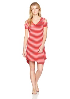 Marc New York Performance Women's Cold Shoulder Striped Dress  XL