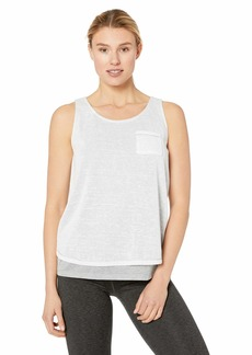 Marc New York Performance Women's Criss-Cross Back 2fer Tank with Sheer Overlay