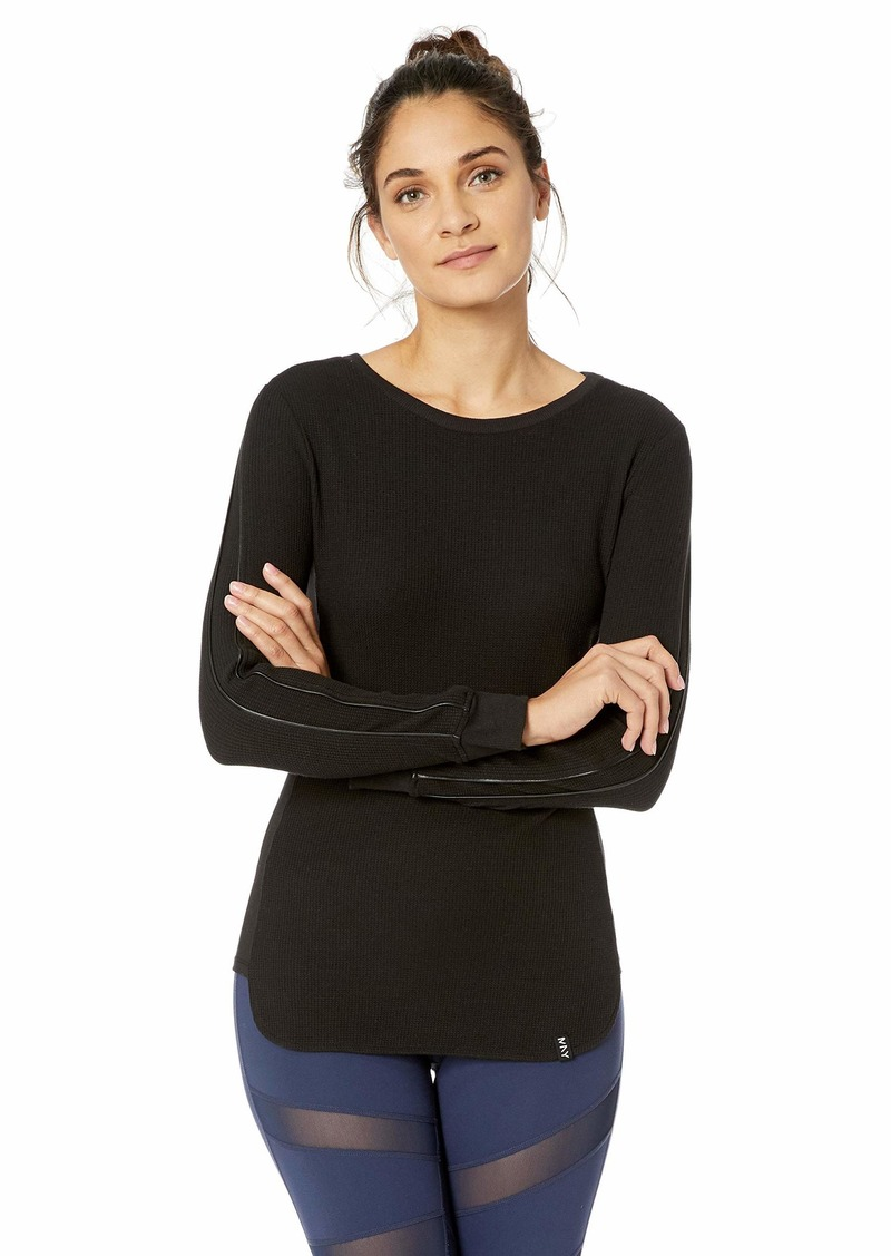 Marc New York Performance Women's Fitted Top with Faux Leather Piping