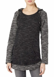 Marc New York Performance Women's Heritage Terry roll-Sleeve Curved Hem Hooded Tunic