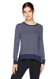 Marc New York Performance Women's High-Low Thick 'n Thin Stripe Pullover  L