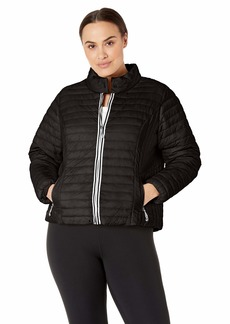 Marc New York Performance Women's Lightweight Puffer Jacket with Novelty Trimming  X Large