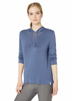 Calvin Klein Women's Long Sleeve Hooded tee with mesh Triangle Inset