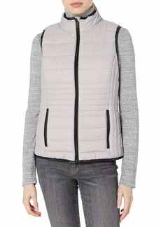 Marc New York Performance Women's Packable Vest with Faux Leather Trim