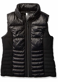 Marc New York Performance Women's Packable Vest with Jacquard Mesh Insets and Hidden Rain Hood