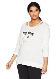 Marc New York Performance Women's Plus Size 3/4 Sleeve Cold Clavicle TEE