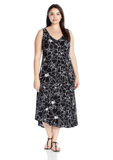 Marc New York Performance Women's Plus Size Asymmetric Printed Slip Dress  1X