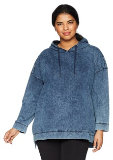 Marc New York Performance Women's Plus Size Denim Hooded Pullover