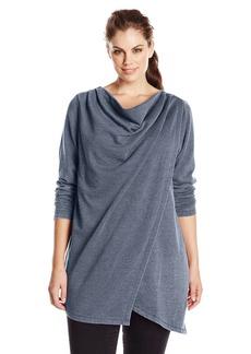 Marc New York Performance Women's Plus-Size Drapey Distress Fleece Tunic