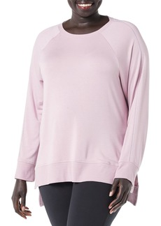 Marc New York Performance Women's Plus Size Luxe Lounge Long Sleeve Pullover with Decorative Stitching