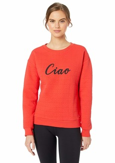 Marc New York Performance Women's Puff Knit Graphic Long Sleeve Sweatshirt