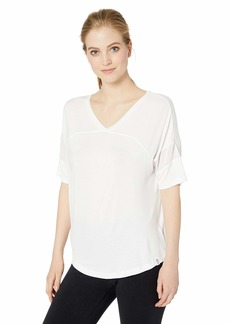 Marc New York Performance Women's Plus Size Short Sleeve V-Neck Active T-Shirt with Mesh Band Detail (Regular & Plus)