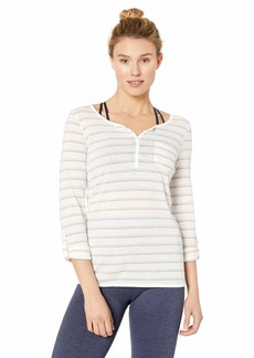 Marc New York Performance Women's Striped Washed Roll Sleeve Henley