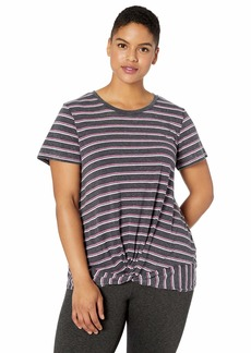 Marc New York Performance Women's Plus Size Striped Washed Short Sleeve Twisted Front Tee