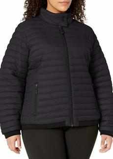 Marc New York Performance Women's Plus Size Super Soft Packable Jacket with Stripe Knit Rib