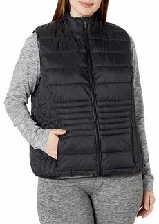 Marc New York Performance Women's Plus Size Super Soft Packable Vest with Faux Leather Trim