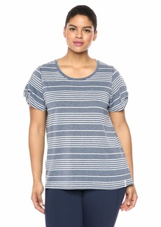 Marc New York Performance Women's Plus Size Washed Short Sleeve Scattered Stripe tee