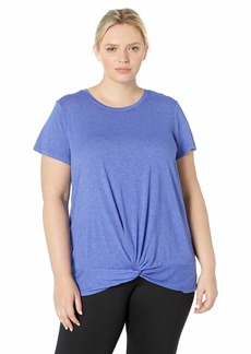 Marc New York Performance Women's Plus Size Washed Short Sleeve Twisted Front Tee