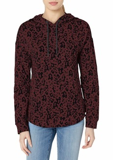 Marc New York Performance Women's Printed French Terry Long Sleeve high-Low Hooded Pullover