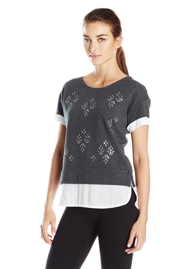 Marc New York Performance Women's Short Sleeve 2-Fer with Embellished Front