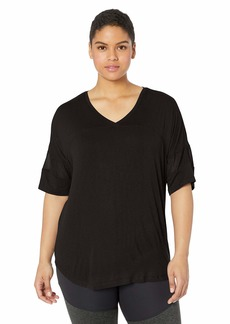 Calvin Klein Women's Short v-Neck Active tee with mesh Bands on The Sleeve