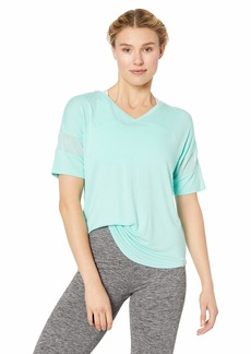 Marc New York Performance Women's Short V-Neck Tee with Mesh Bands on Sleeve